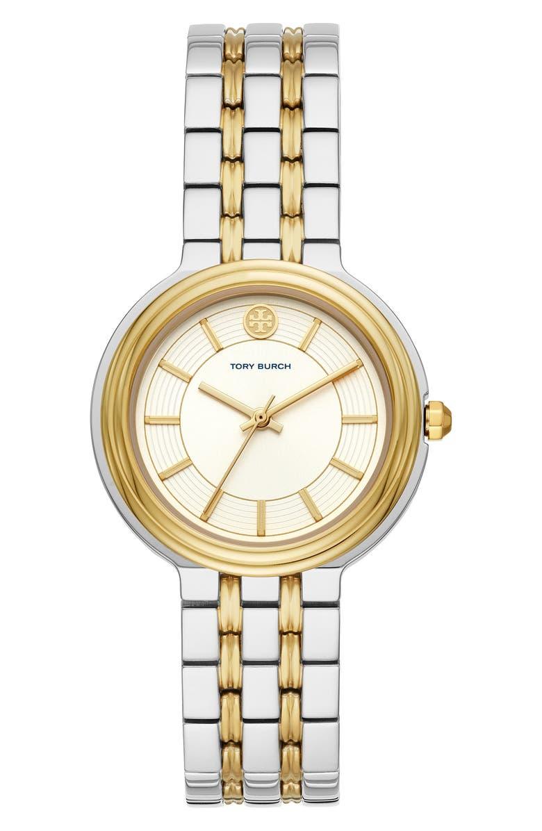 TORY BURCH Bailey Bracelet Watch, 34mm, Main, color, SILVER/ CREAM/ SILVER