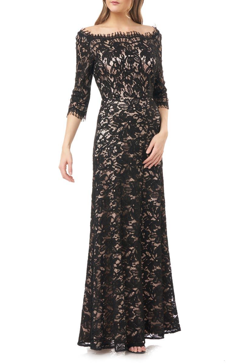 JS COLLECTIONS Bateau Neck Lace Gown, Main, color, 001