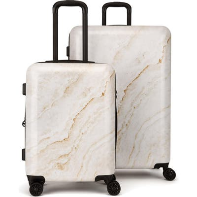 Calpak Gold Marble 30-Inch & 22-Inch Hard Side Spinner Suitcase & Carry-On Set - Metallic