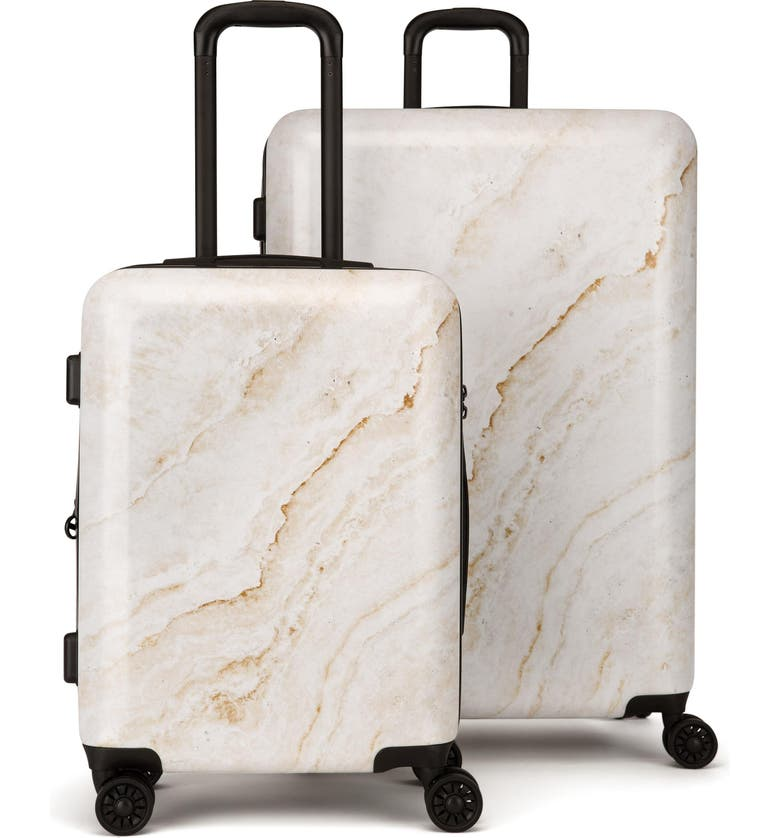 CALPAK Gold Marble 30-Inch & 22-Inch Hard Side Spinner Suitcase & Carry-On Set, Main, color, 710