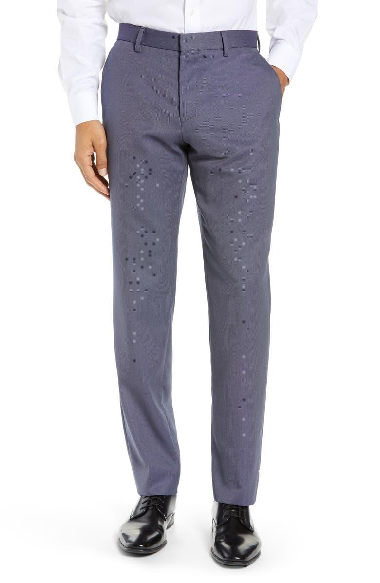 BOSS Gains Flat Front Solid Wool Blend Dress Pants, Main, color, OPEN BLUE
