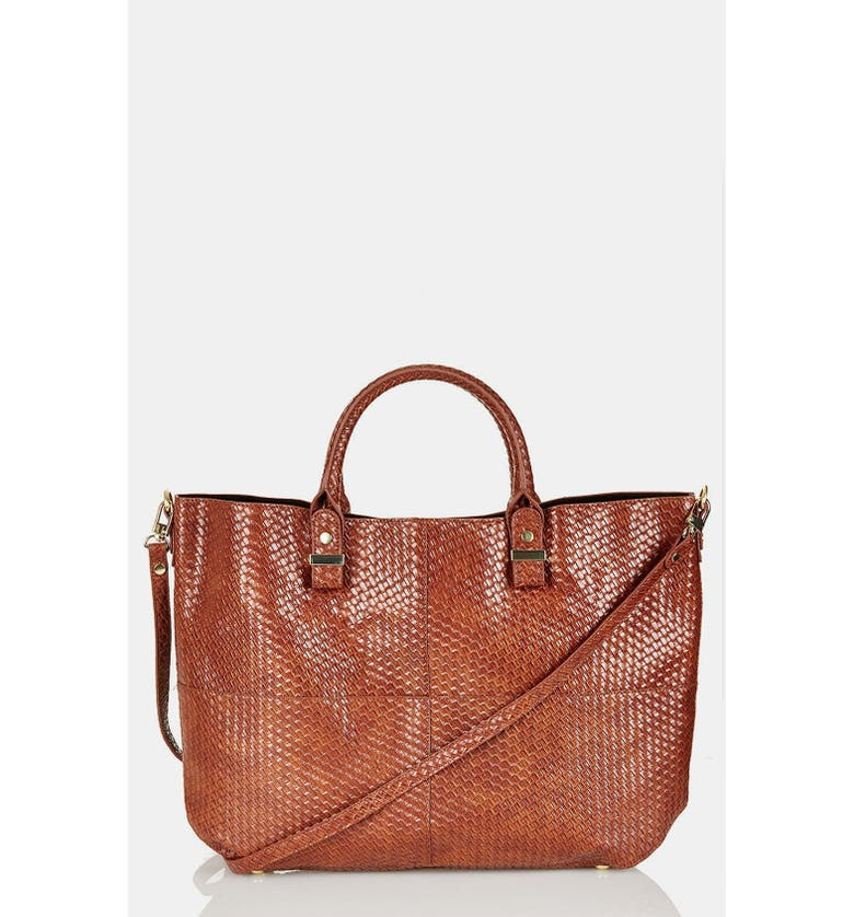 TOPSHOP 'Woven Lady' Faux Leather Tote, Extra Large, Main, color, 210