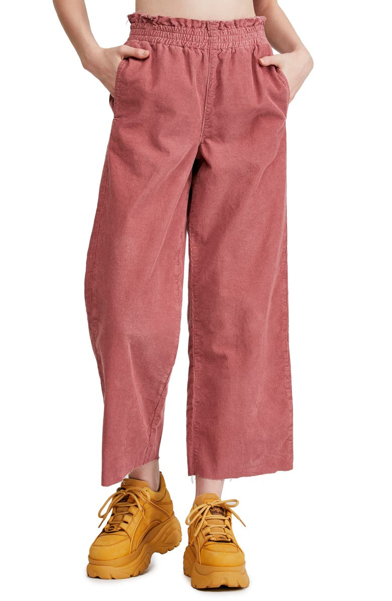 BDG Urban Outfitters Paperbag Waist Corduroy Trousers, Main, color, PINK