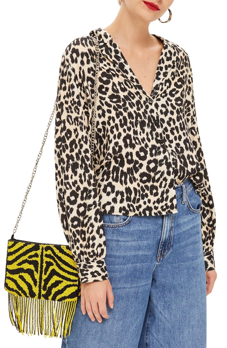 TOPSHOP Jessica Animal Print Blouse, Main, color, 002