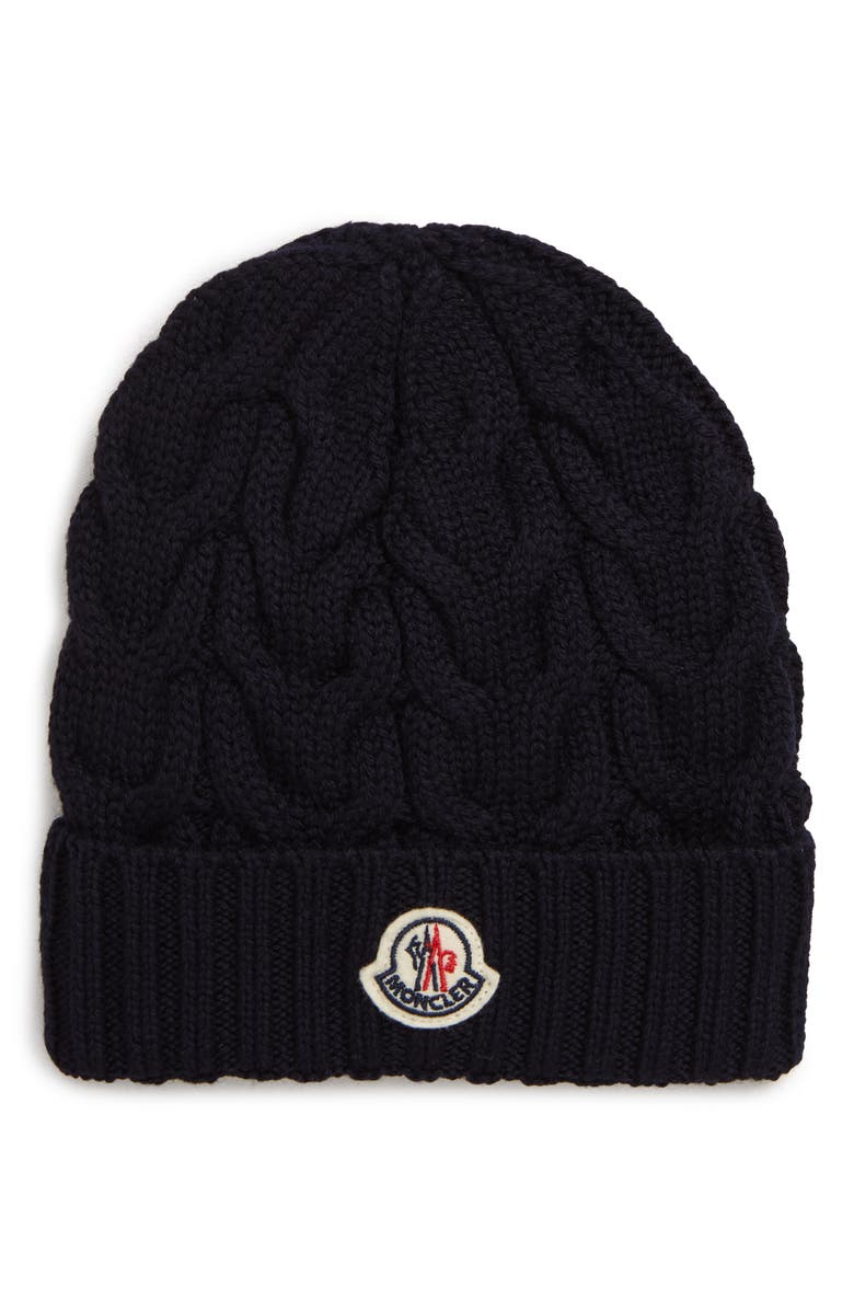 MONCLER Cable Knit Wool Beanie, Main, color, 419