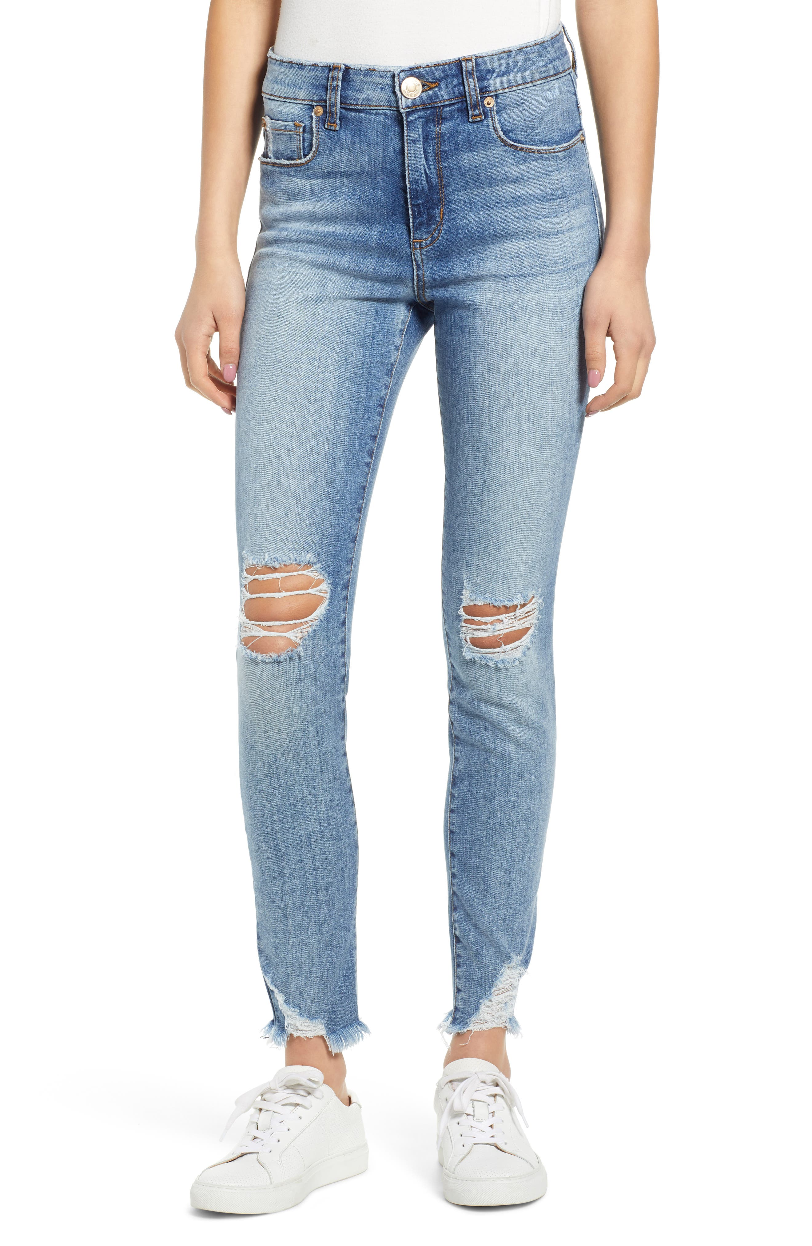 Emma Ripped High Waist Skinny Jeans, Main, color, NORTH BROWNSTONE