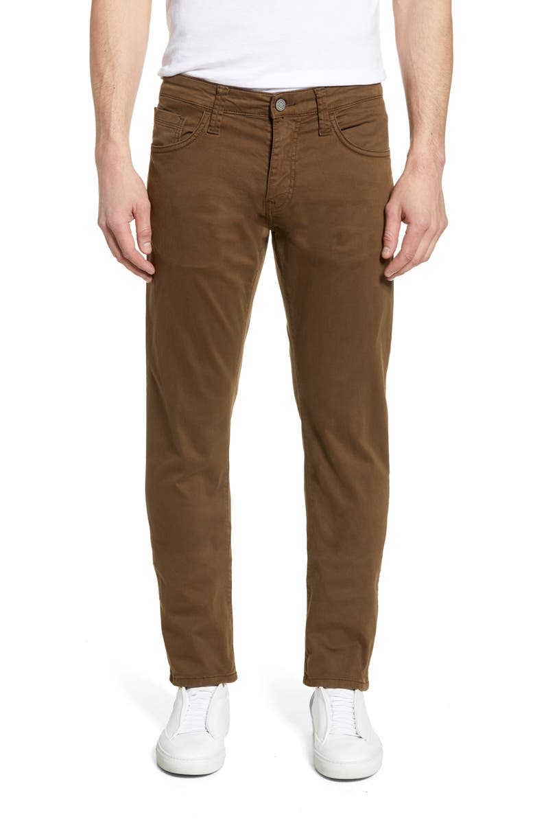 MAVI JEANS Zach Straight Leg Twill Pants, Main, color, BROWN TWILL