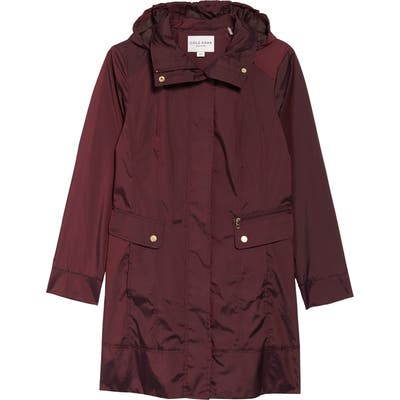Petite Cole Haan Signature Back Bow Packable Hooded Raincoat, Purple