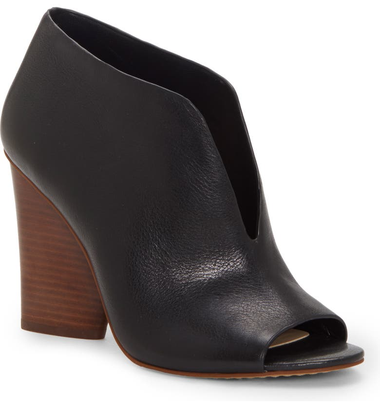 VINCE CAMUTO Andrita Open Toe Bootie, Main, color, BLACK LEATHER