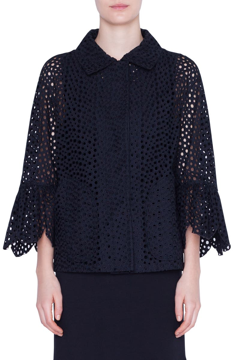 AKRIS PUNTO Broderie Anglaise Jacket, Main, color, BLACK