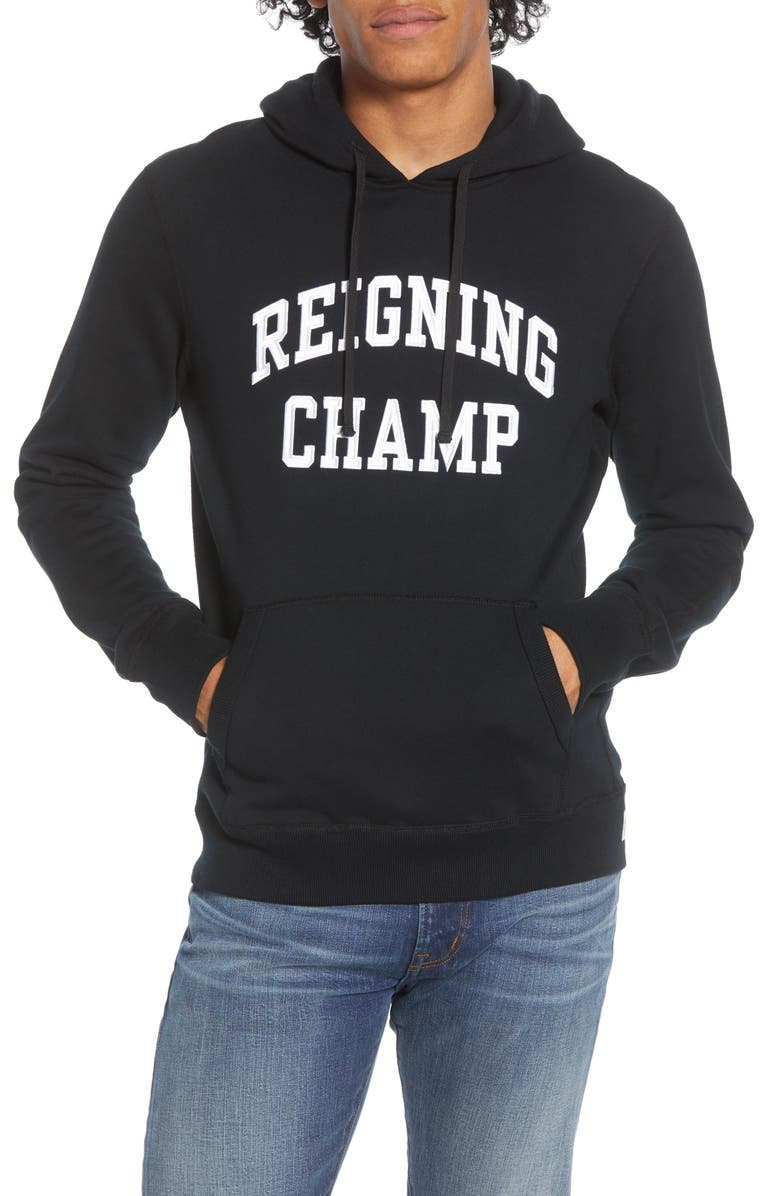 REIGNING CHAMP Varsity French Terry Hooded Sweatshirt, Main, color, BLACK