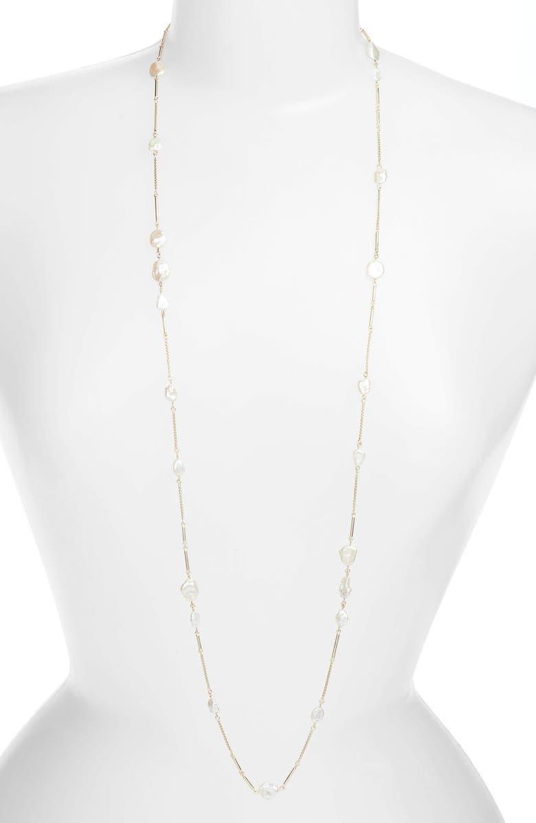 KENDRA SCOTT Sabrina Natural Pearl Necklace, Main, color, GOLD/ WHITE BAROQUE PEARL
