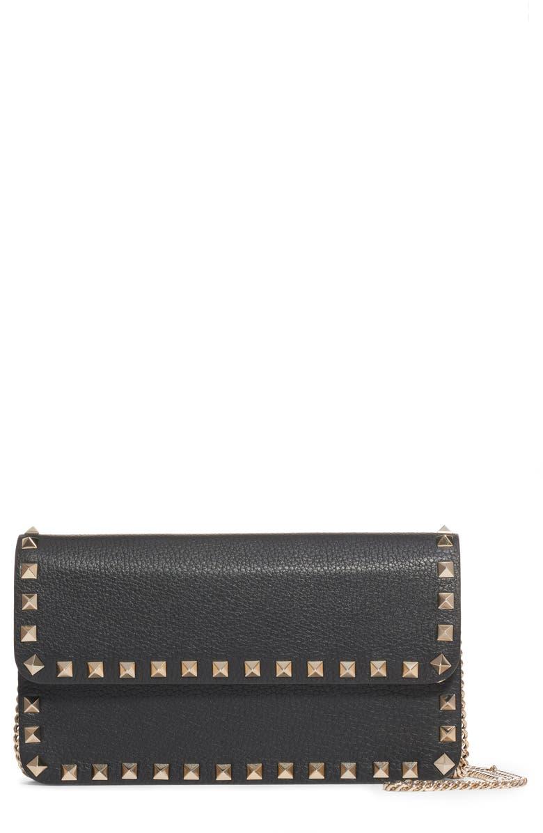 VALENTINO GARAVANI Rockstud Leather Wallet on a Chain, Main, color, NERO