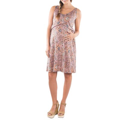 Everly Grey Pia Print Maternity/nursing Dress, Pink