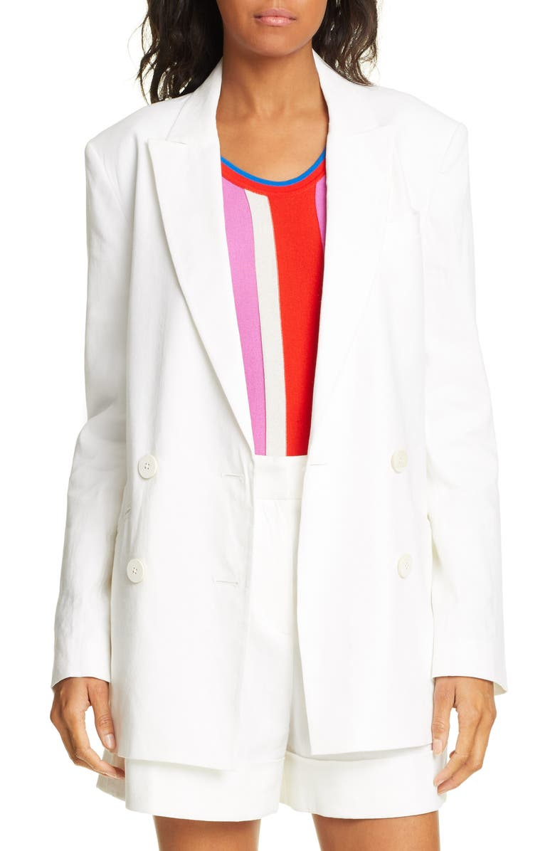 DVF Madison Double Breasted Linen Blend Blazer, Main, color, WHITE