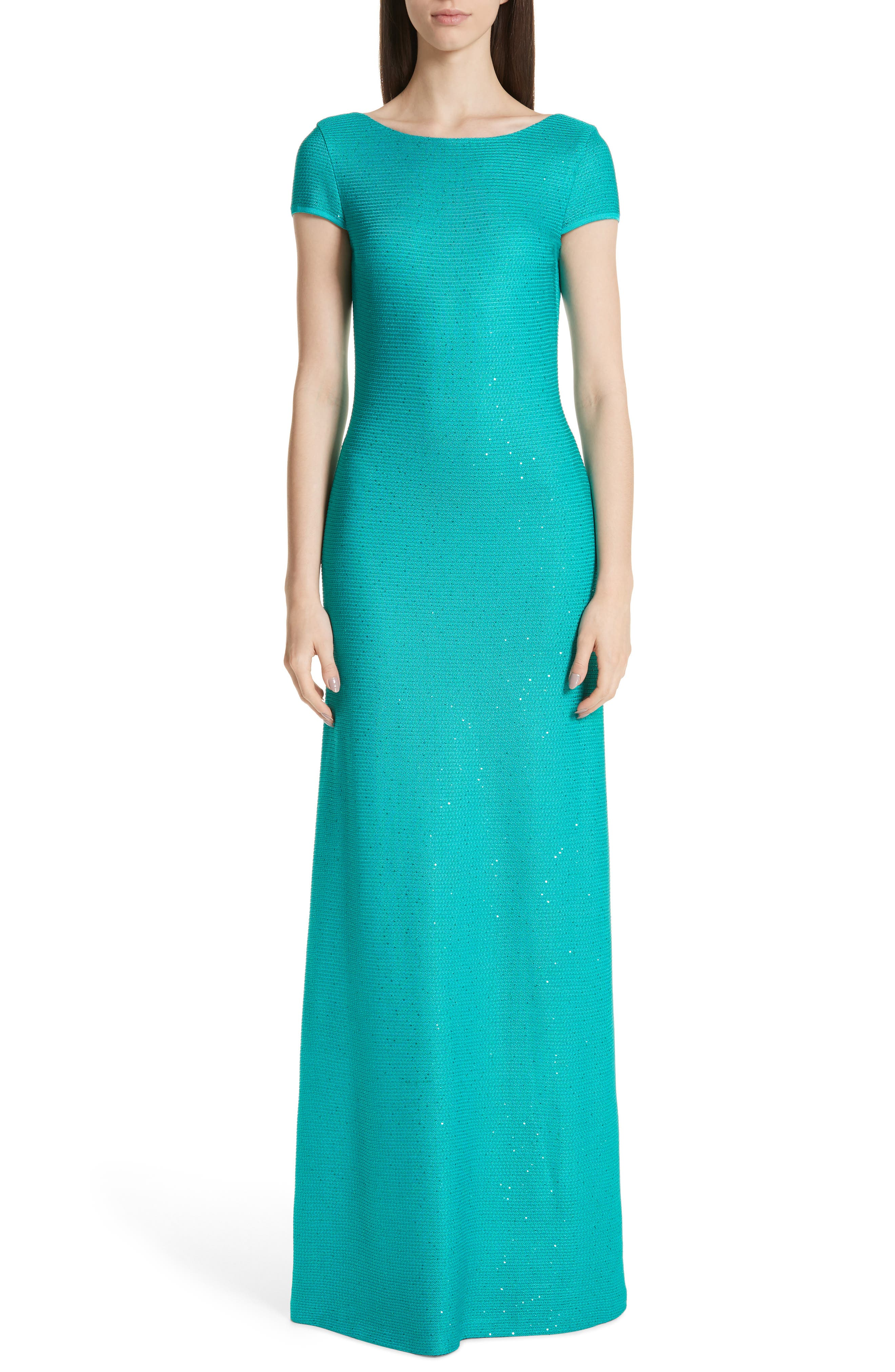 St. John Collection Links Sequin Knit Trumpet Gown, Blue/green
