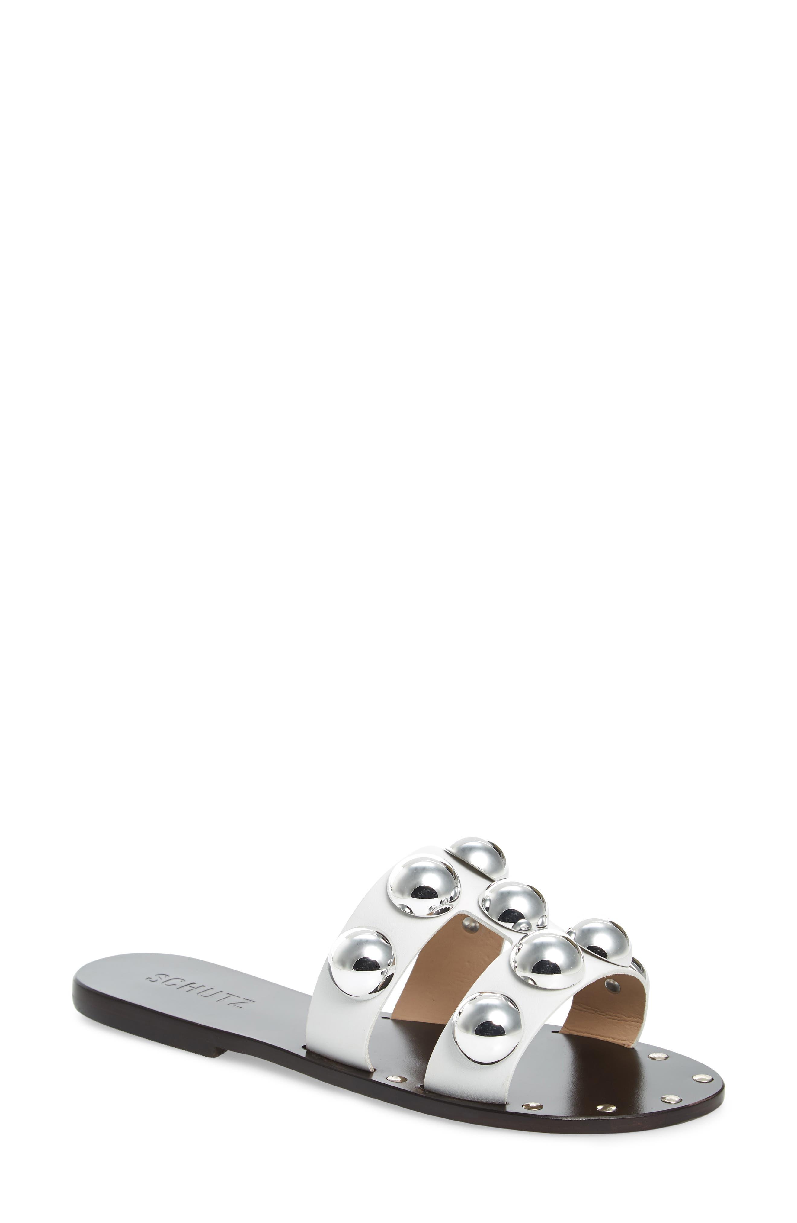 Schutz Benedita Slide Sandal- White
