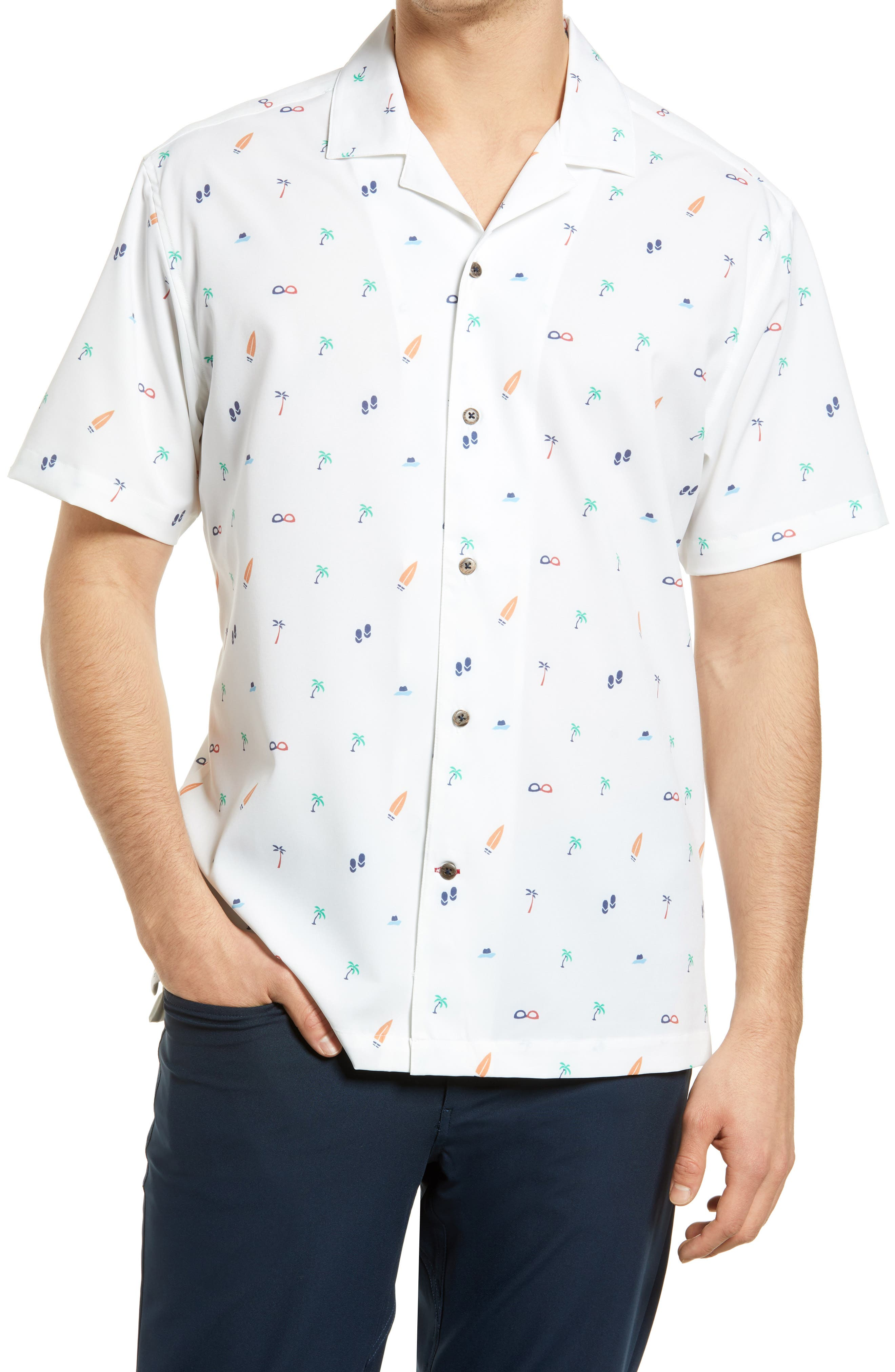 Beach Print Performance Short Sleeve Button-Up Camp Shirt
