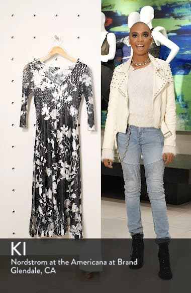 Sheer Sleeve Floral Print Charmeuse A-Line Dress, sales video thumbnail