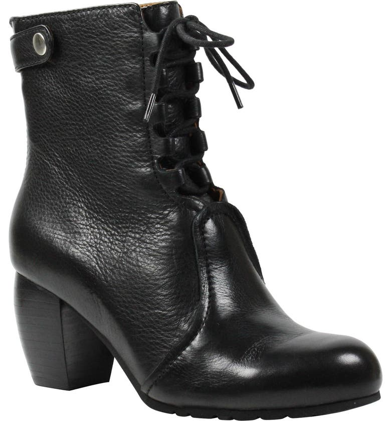 L'AMOUR DES PIEDS Pontedera Lace-Up Bootie, Main, color, BLACK LEATHER