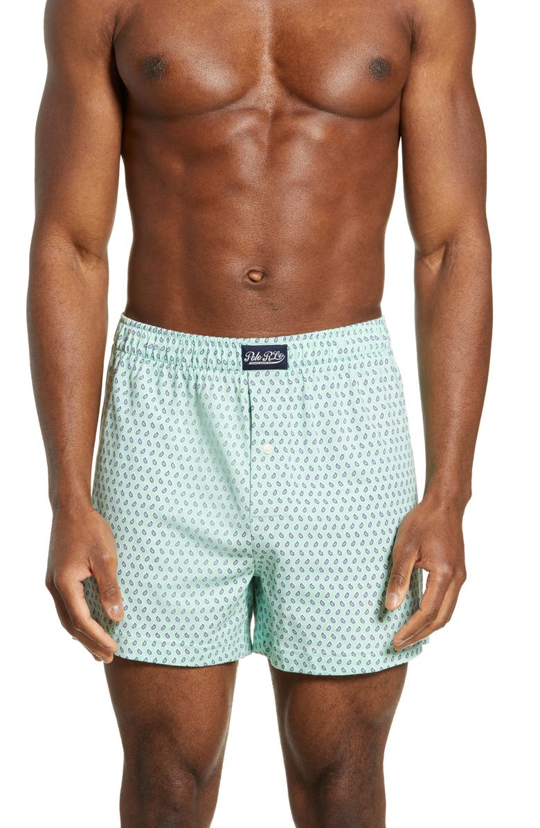 POLO RALPH LAUREN Cotton & Modal Boxers, Main, color, ATHENS GREEN PAISLEY