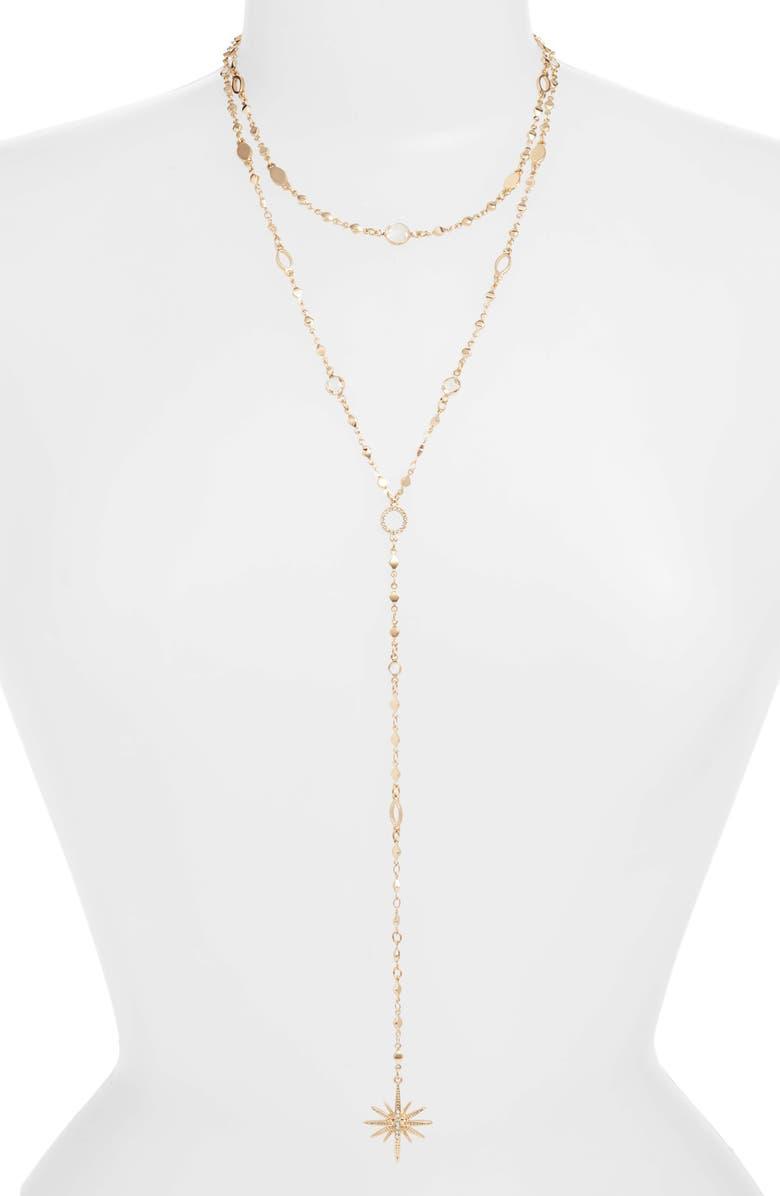 ETTIKA Multistrand Star Y-Necklace, Main, color, GOLD