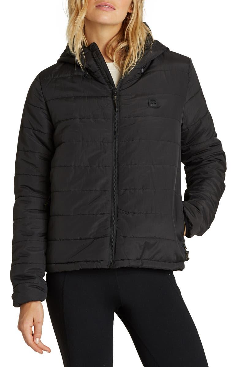 BILLABONG Transport Hooded Puffer Coat, Main, color, BLACK