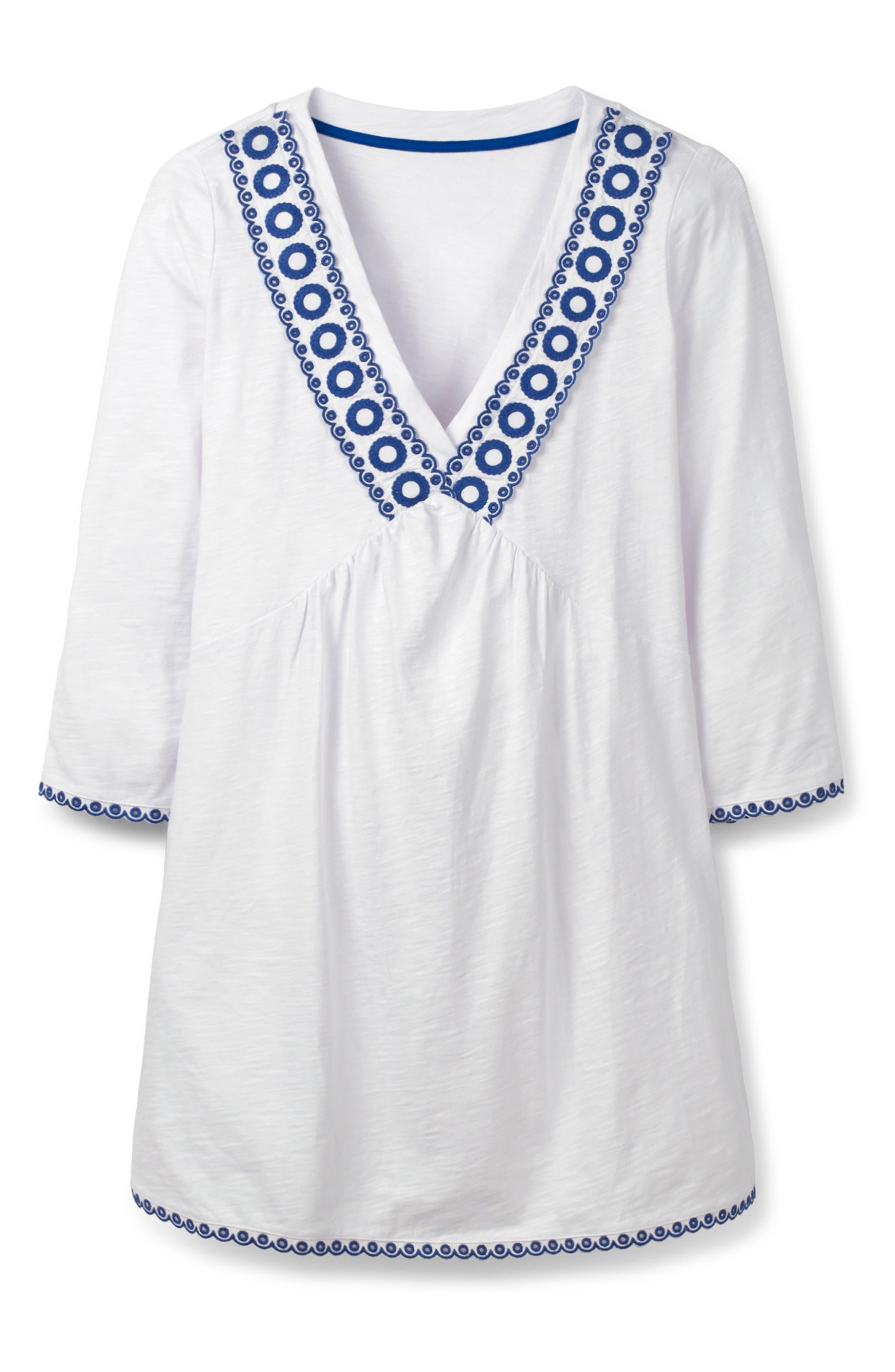 ,                             Rosanna Jersey Tunic,                             Alternate thumbnail 4, color,                             WHITE/ COBALT