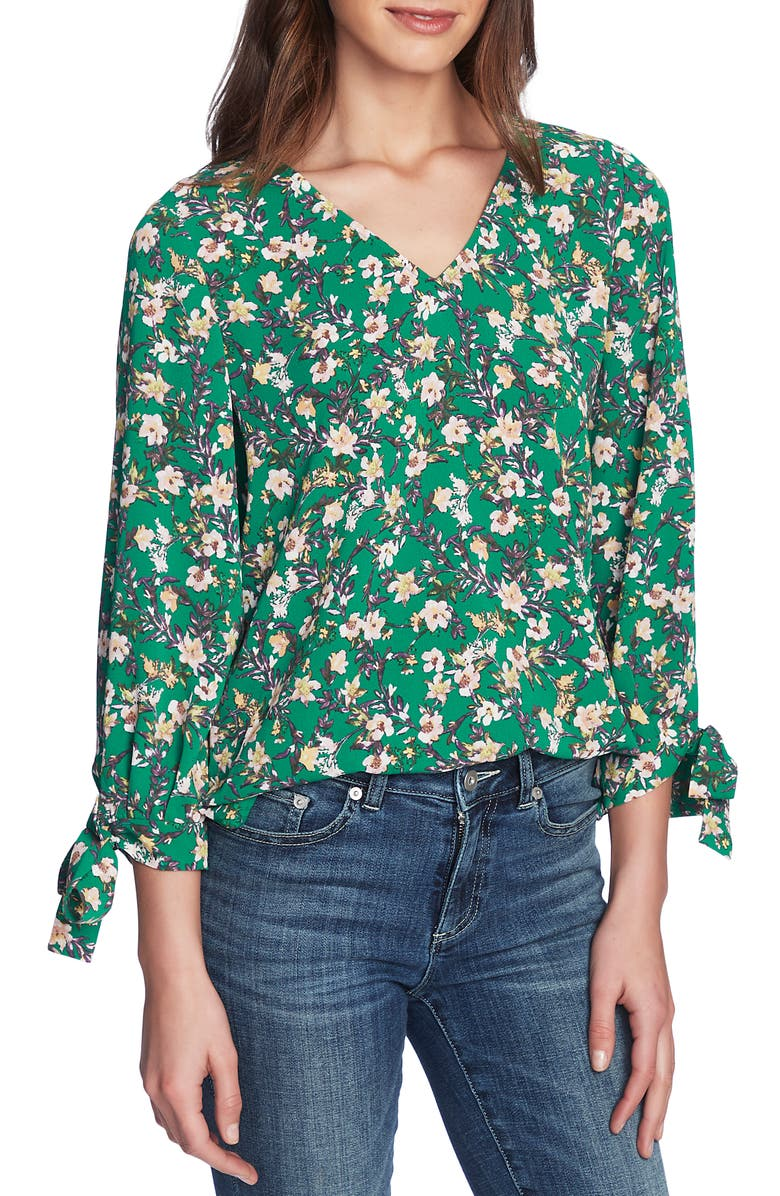 CECE Botanic Charm Floral Tie Sleeve Blouse, Main, color, 300
