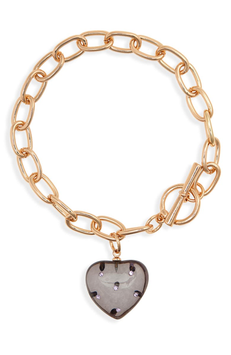 BP. Resin Heart Toggle Bracelet, Main, color, GREY- PURPLE- GOLD