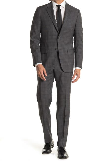 Image of Hickey Freeman Dark Gray Plaid Regular Fit 2B Plaid 2-Piece Suit Set