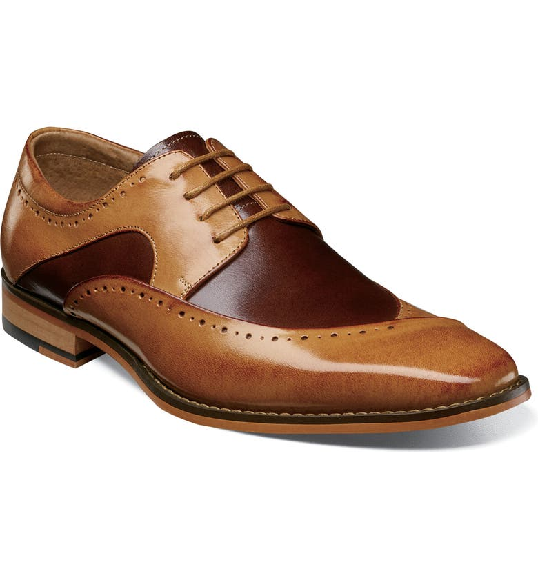 STACY ADAMS Tammany Wingtip, Main, color, TAN AND BROWN