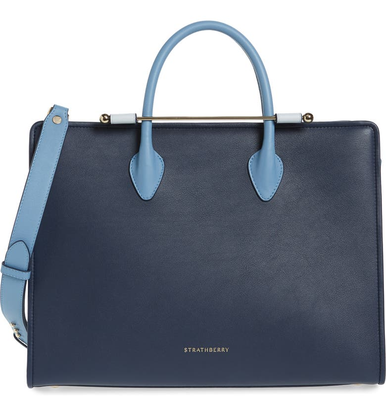 STRATHBERRY Tricolor Leather Tote, Main, color, NAVY/ILLUSION BLUE/ALICE BLUE