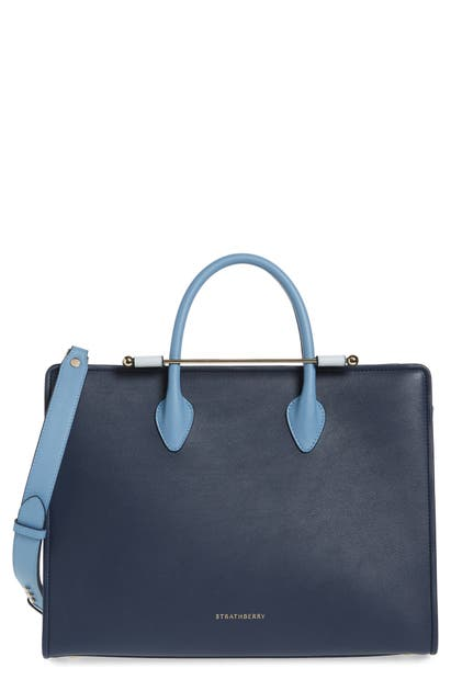 Strathberry Tricolor Leather Tote In Navy/illusion Blue/alice Blue