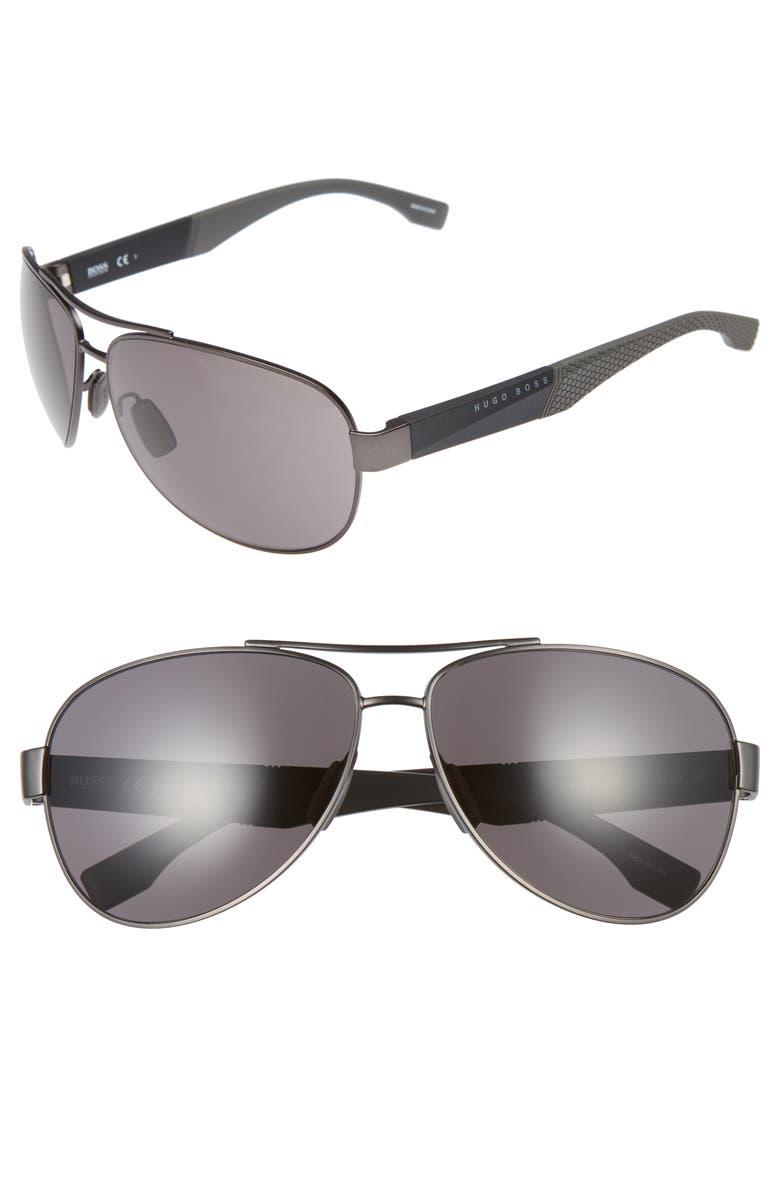 BOSS 65mm Aviator Sunglasses, Main, color, GREY BLACK/ GREY