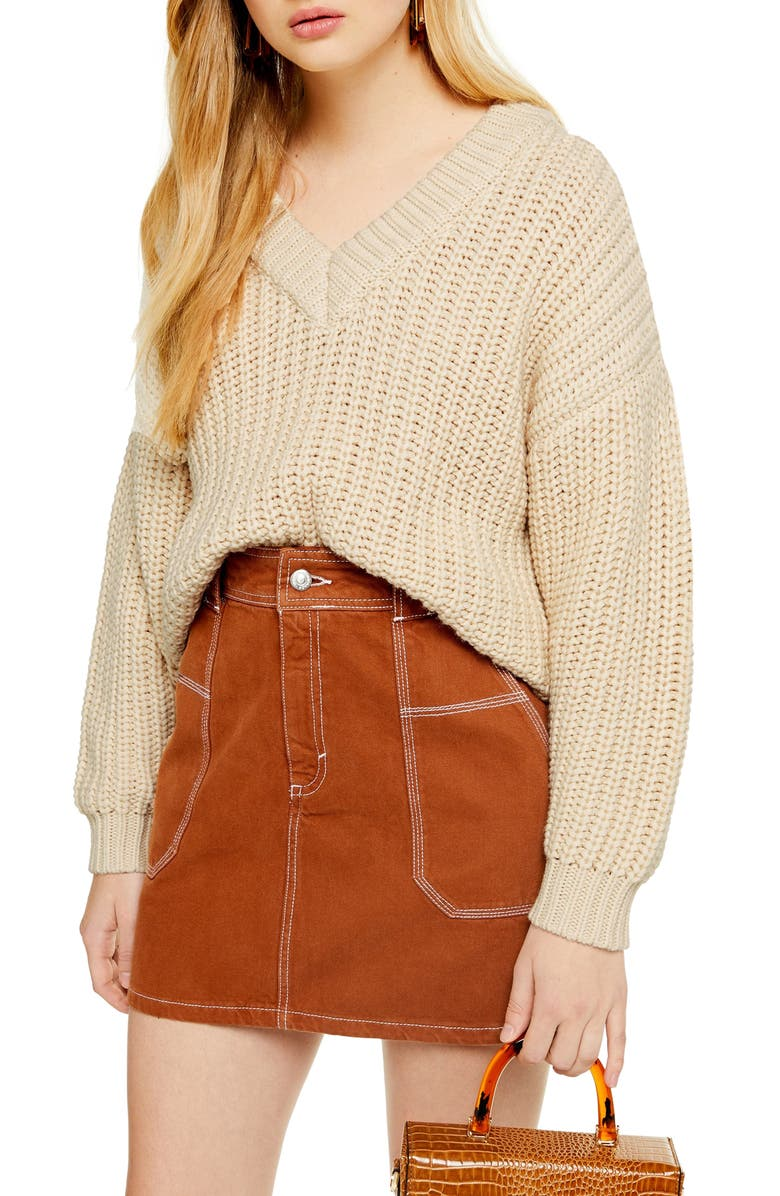 TOPSHOP Oversize V-Neck Sweater, Main, color, OATMEAL