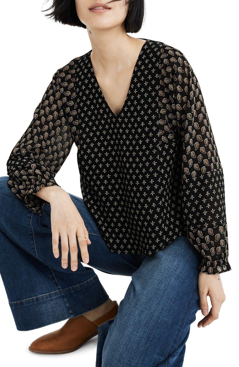 MADEWELL Brushstroke Paisley Sheer Sleeve Top, Main, color, PAISLEY FOULARD MIX PRINT