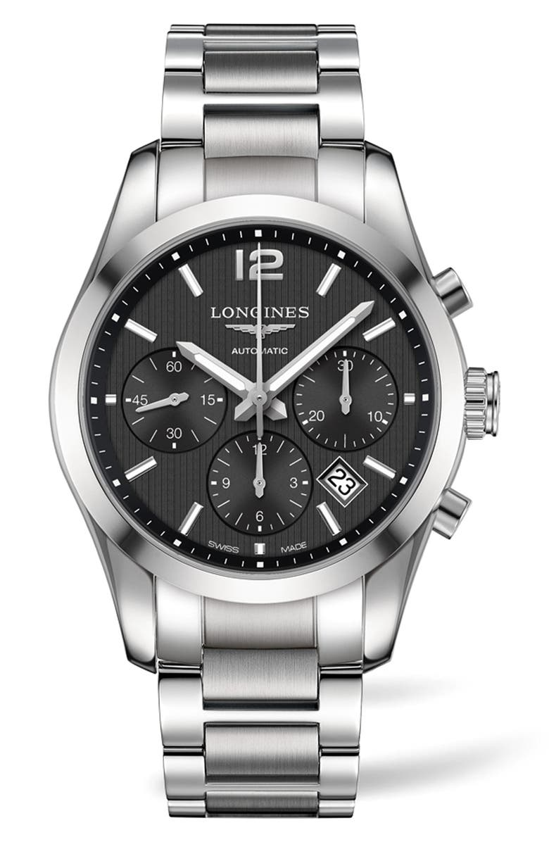 LONGINES Conquest Automatic Chronograph Bracelet Watch, 41mm, Main, color, SILVER/ BLACK/ SILVER
