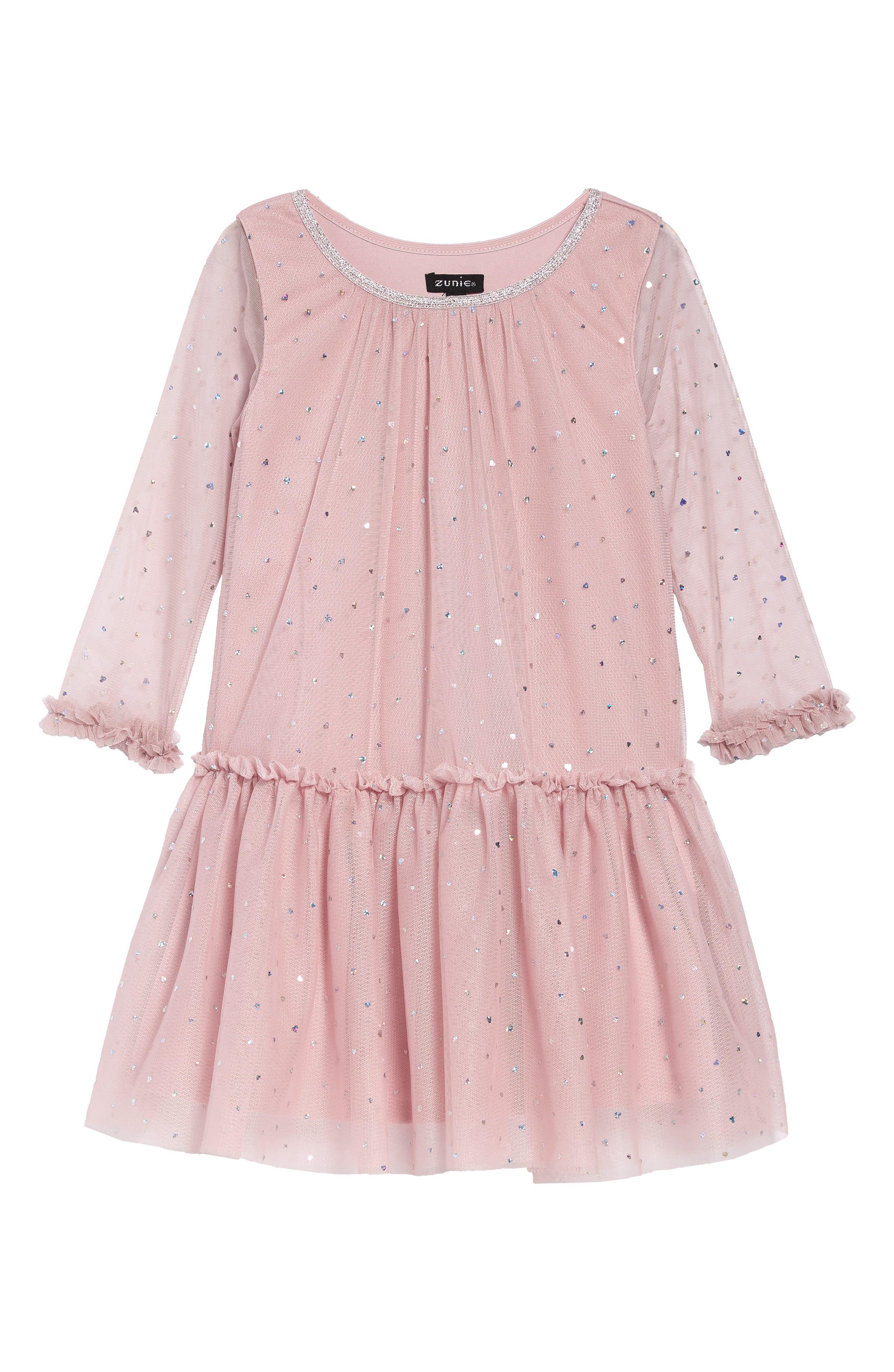 Vintage Style Children's Clothing: Girls, Boys, Baby, Toddler Toddler Girls Zunie Sequin Tulle Drop Waist Dress Size 3T - Pink $48.00 AT vintagedancer.com