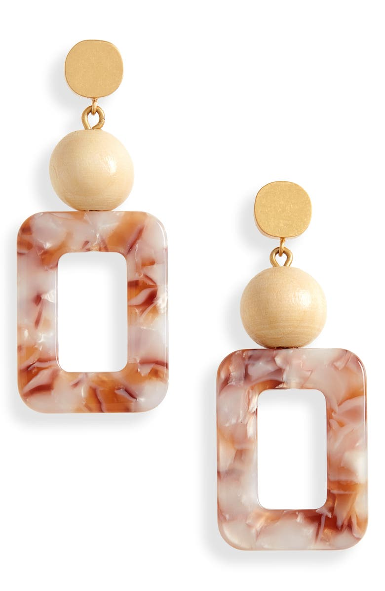 MADEWELL Wooden Bead Acetate Statement Earrings, Main, color, PALE HONEY TORT