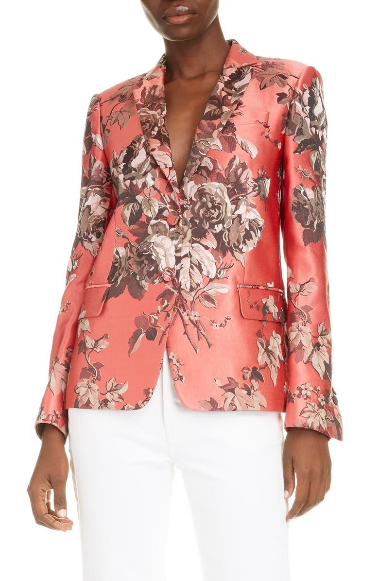 DRIES VAN NOTEN Belma Floral Silk Blend Blazer, Main, color, 600