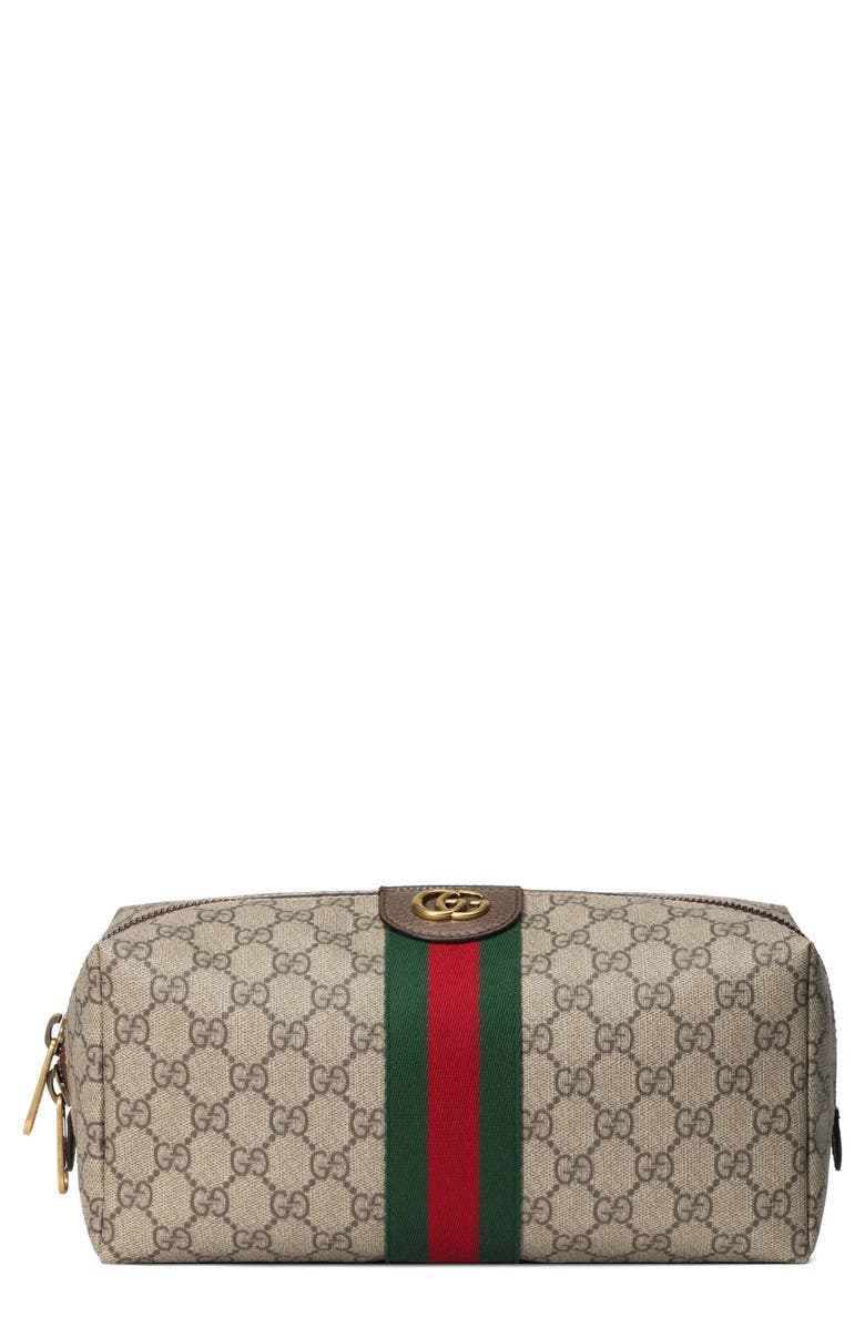 GUCCI GG Supreme Canvas Dopp Kit, Main, color, 001