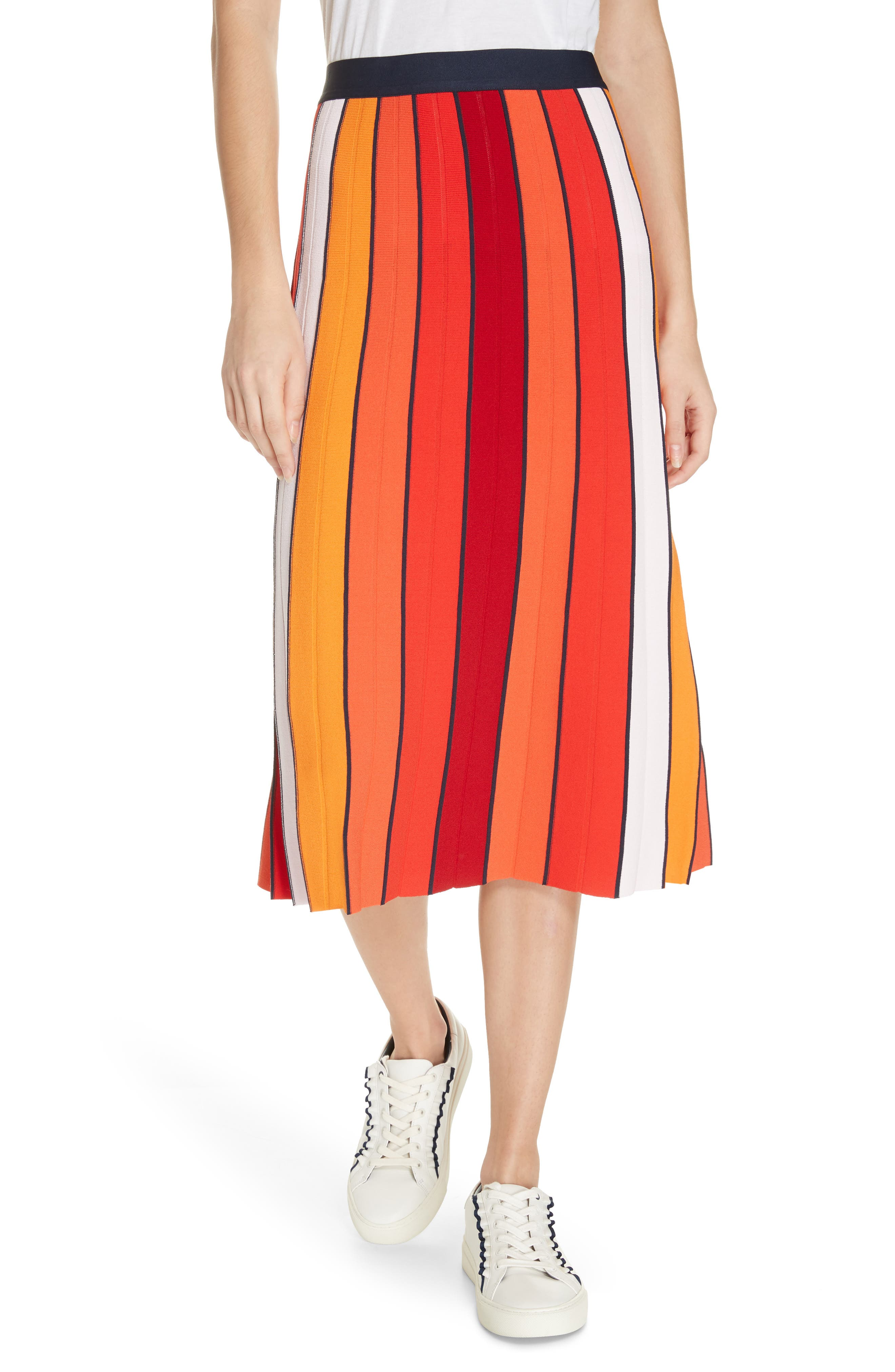 60s Skirts | 70s Hippie Skirts, Jumper Dresses Womens Tory Sport Stripe Tech Knit Skirt Size Small - Red $99.20 AT vintagedancer.com