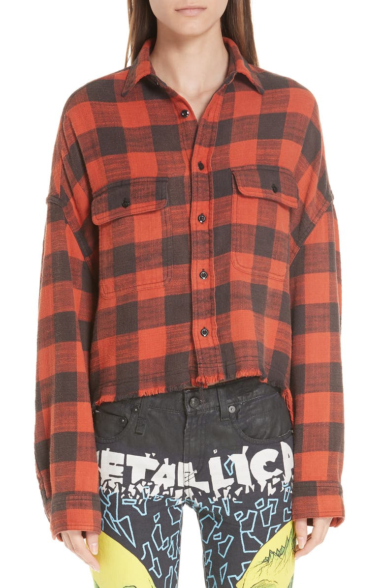 R13 Crop Work Shirt, Main, color, RED PLAID