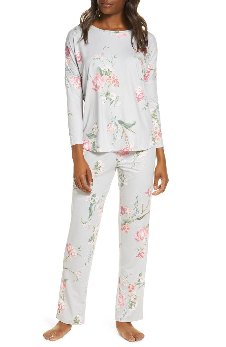 FLORA NIKROOZ Kathy Floral Pajamas, Main, color, LIGHT GRAY