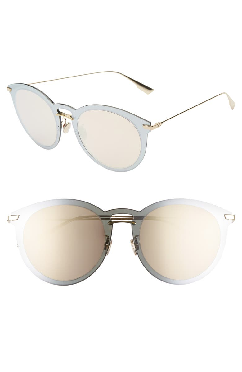 DIOR UltimeF 53mm Round Aviator Sunglasses, Main, color, SILVER/ PINK/ GOLD