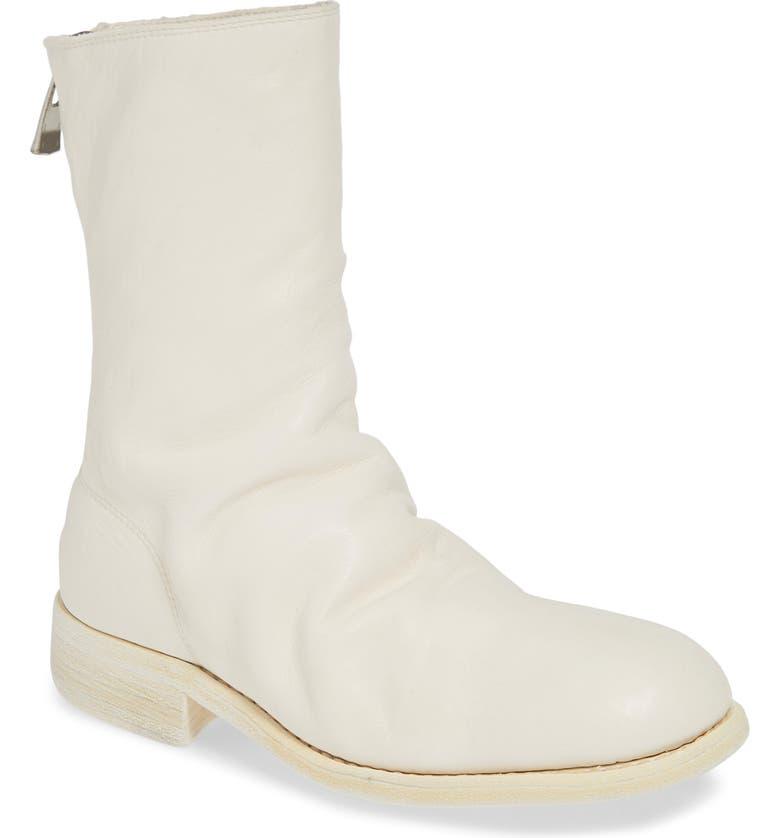 GUIDI Back Zip Boot, Main, color, WHITE