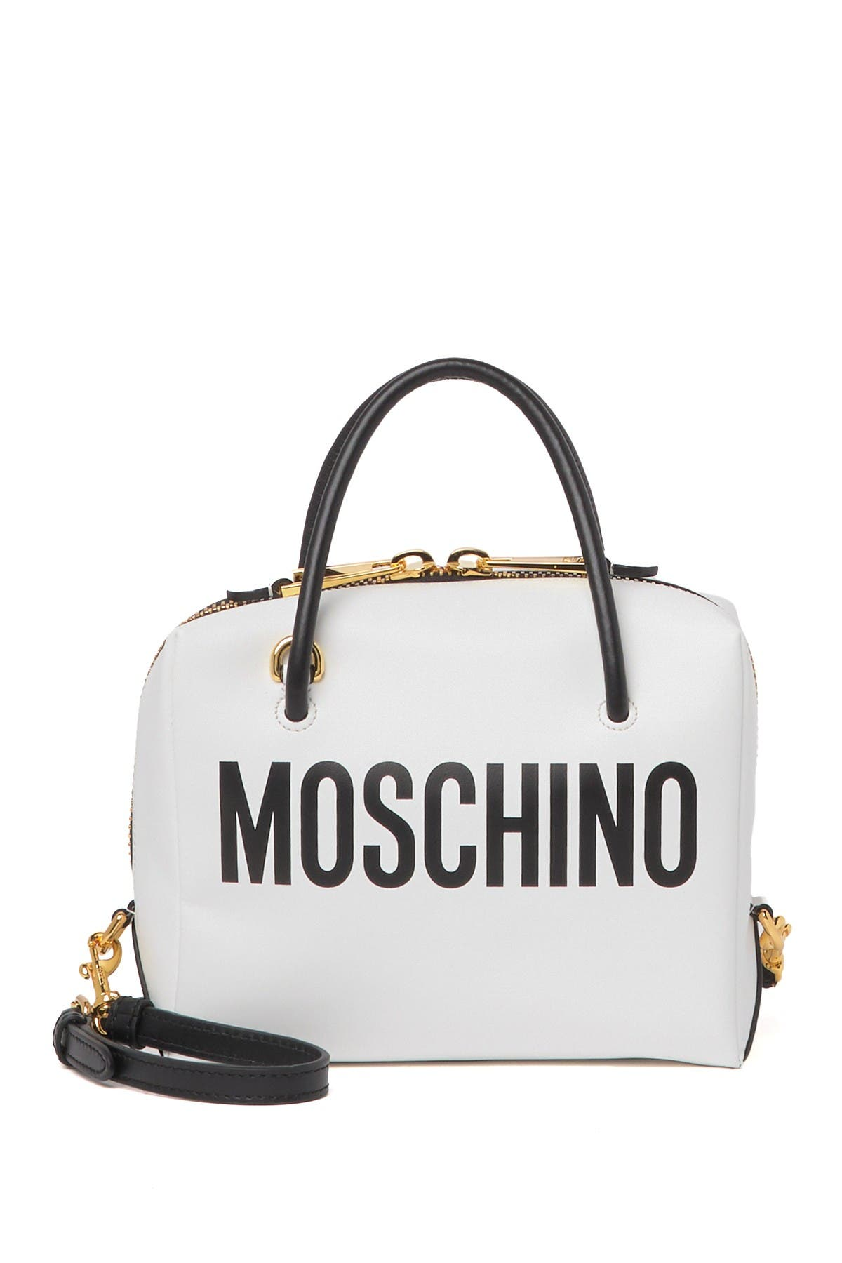 Image of MOSCHINO Logo Leather Shoulder Crossbody Bag