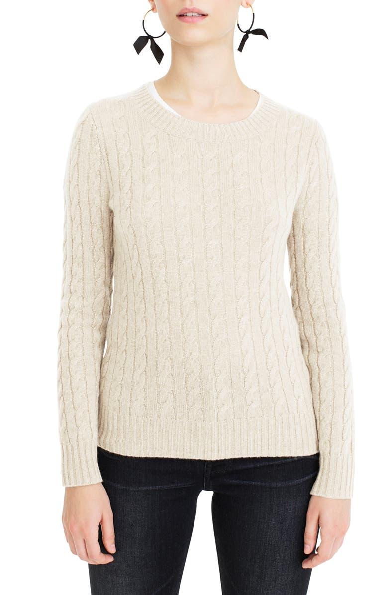 J.CREW Everyday Cashmere Cable Crewneck Sweater, Main, color, 250