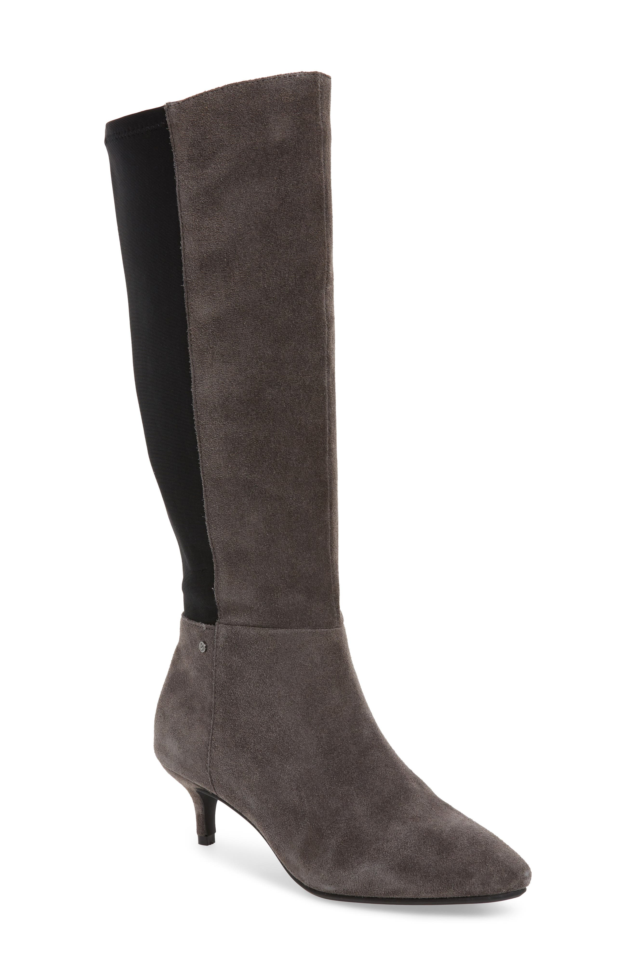 Sudini Beverly Stretch Back Knee High Boot, Grey